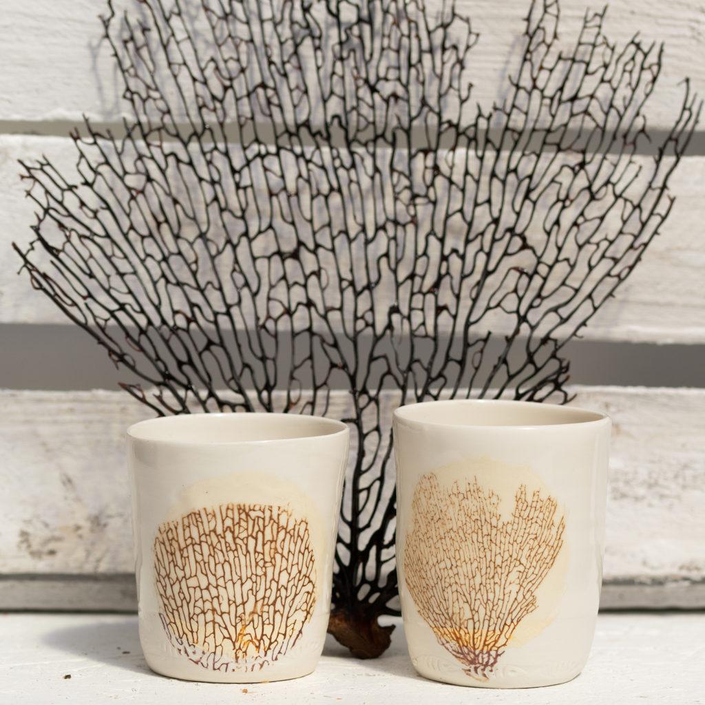 Gobelet en porcelaine transfert photo corail
