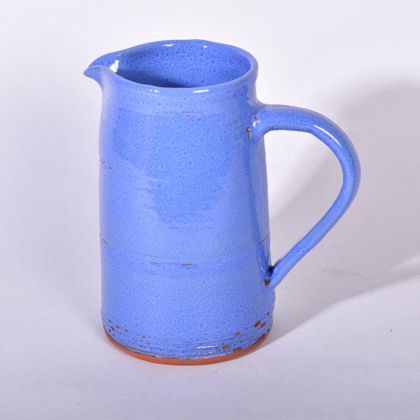 Pichet bleu lin foncé tourné en grès de Noron, terre Normande.